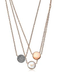 Emporio Armani - Signature Rose Goldtone Necklace W/triple Charms - Lyst