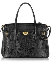Fontanelli - Shiny Black Croco Embossed Leather Tote - Lyst