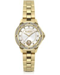 Versus - South Horizons Gold Tone Crystal Stainless Steel Women's Bracelet Watch W/white Dial - Lyst