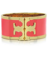 Tory Burch - Tory Gold Brass And Red Volcano Enamel Raised Logo Wide Cuff Bracelet - Lyst