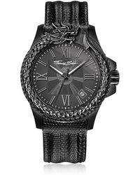 Thomas Sabo - Rebel Icon Black Stainless Steel Men's Watch W/lizard Embossed Leather Strap - Lyst
