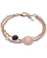 Fossil - Crystal Rose Gold Tone Women's Bracelet - Lyst