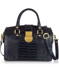 L.A.P.A. - Blue Croco-stamped Italian Leather Doctor Bag - Lyst