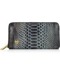 Ghibli - Python Leather Zip Around Continental Wallet - Lyst