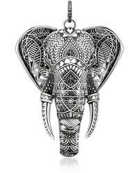 Thomas Sabo - Blackened Sterling Elephant Pendant W/onyx And Zirconia - Lyst