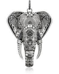 Thomas Sabo - Blackened Sterling Elephant Pendant W/onyx And Zirconia - Lyst