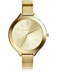 Michael Kors - Mid-size Golden Stainless Steel Slim Runway Three-hand Watch - Lyst