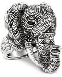Thomas Sabo - Blackened Sterling Silver Elephant Ring W/black Zirconia Pavè - Lyst