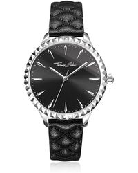 Thomas Sabo - Rebel At Heart Silver Stainless Steel And Black Quilted Leather Strap Women's Watch W/black Dial - Lyst