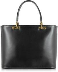 Fontanelli - Polished Black Leather Tote Handbag - Lyst