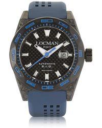 LOCMAN | Stealth 300 Mt Automatic Black Carbon Fibre And Titanium Case W/blue Silicone Strap Men's Watch | Lyst