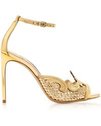 Sophia Webster - Golden Mirror Leather And Mesh Rivera Sandal - Lyst