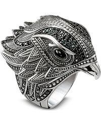 Thomas Sabo - Blackened Sterling Silver Ring w/Black Cubic Zirconia - Lyst