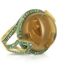 Sho London - 18k Gold V-seal Smoky Quartz Feodora Ring - Lyst