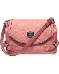 MCM - Pink Blush Signature Monogrammed Leather Small Crossbody Bag - Lyst