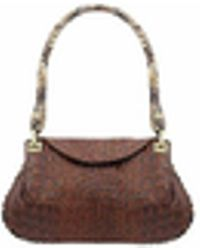 Fontanelli - Brown Croco-embossed Leather Flap Bag W/python Trim - Lyst