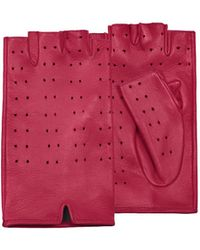 FORZIERI - Women's Red Perforated Fingerless Leather Gloves - Lyst