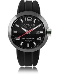 LOCMAN | One Automatico Black Pvd Stainless Steel Men's Watch W/leather And Silicone Band Set | Lyst