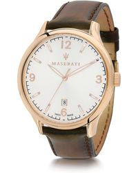 Maserati - Attrazione Gold Tone Stainless Steel Case And Brown Leather Strap Men's Crono Watch - Lyst