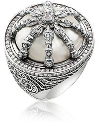 Thomas Sabo - Blackened Sterling Silver & Mother Of Pearl Ring W/white Cubic Zirconia - Lyst