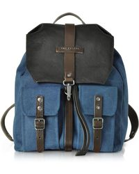 The Bridge - Carver-d Canvas And Leather Men's Backpack W/flap Top - Lyst