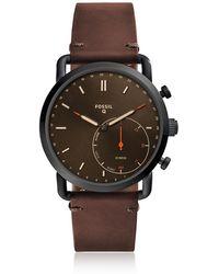 Fossil - Q Commuter Dark Brown Leather Hybrid Men's Smartwatch - Lyst