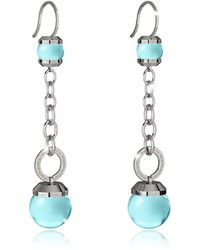 Rebecca - Hollywood Stone Rhodium Over Bronze Dangle Earring W/turquoise Hydrothermal Stone - Lyst