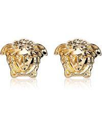 Versace - Gold Metal Medusa Stud Earrings - Lyst