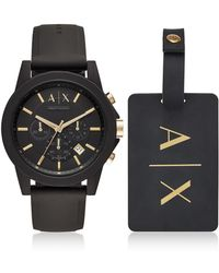 Armani Exchange - Outerbanks Black Silicone Men's Watch With Luggage Tag - Lyst