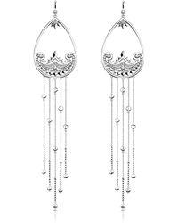 013c3eeac5e3 Thomas Sabo - Sterling Silver Paisley Extra Long Pendant Earrings w  White  Zirconia - Lyst