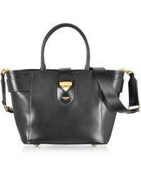 Moschino - Black Leather Tote Bag W/shoulder Strap - Lyst