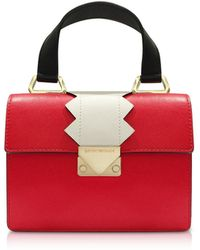 Emporio Armani - Small Red Smooth Leather Top-handle Bag - Lyst