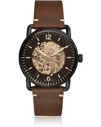 Fossil - Commuter Automatic Brown Leather Men's Watch - Lyst