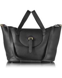 meli melo - Black Leather Thela Medium Tote Bag - Lyst