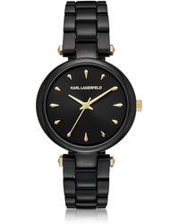 Karl Lagerfeld - Aurelie Black Stainless Steel Women's Quartz Watch W/signature Dial - Lyst