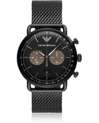 Emporio Armani - Chronograph Black Stainless Steel Mesh Bracelet Watch 43mm - Lyst