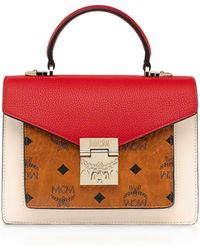 MCM - Small Visetos Leather Cognac/ruby Red Patricia Satchel Bag - Lyst