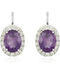 FORZIERI - 0.51 Ct Diamond Pave 18k Gold Earrings W/amethyst - Lyst