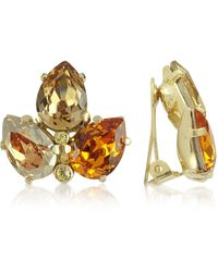 AZ Collection - Amber Crystal Clip-on Earrings - Lyst