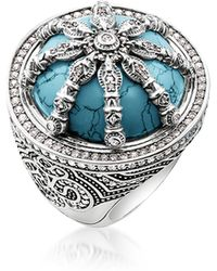 Thomas Sabo - Blackened Sterling Silver & Synthetic Turquoise Ring W/white Cubic Zirconia - Lyst