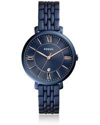 Fossil - Jacqueline Three-hand Date Blue Stainless Steel Women's Watch - Lyst