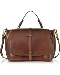 The Bridge - Brown Leather Dual Function Oversized Satchel Bag - Lyst