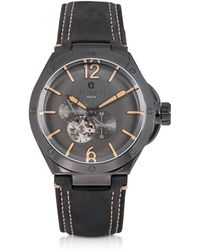 Lancaster - Space Shuttle Meccanico Gunmetal Stainless Steel And Black Nubuck Men's Watch - Lyst