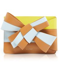 Delpozo - Color Block Leather Large Bow Clutch - Lyst