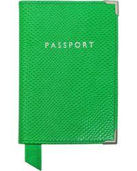 Aspinal - Protège Passeport en Peau de Lézard Vert - Lyst