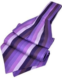Forzieri | Vertical Stripe Tone On Tone Woven Silk Ascot | Lyst
