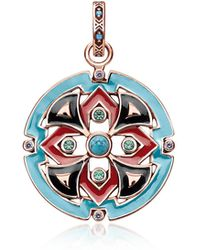 Thomas Sabo - 18k Rose Gold Plated Sterling Silver Round Pendant W/glass-ceramic Stones - Lyst