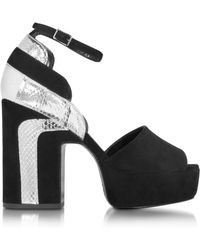 Pierre Hardy - Roxy Black Suede And Silver Ayers Platform Sandal - Lyst