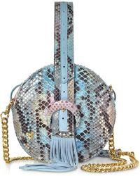 Ghibli - Sky Blue Python Round Crossbody Bag W/fringes - Lyst