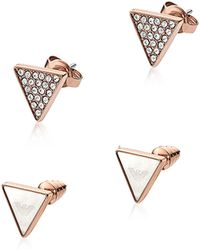 Emporio Armani - Women's Pink Metal Earrings - Lyst